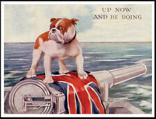 ENGLISH BULLDOG ON FLAG DRAPED NAVAL GUN GREAT VINTAGE STYLE DOG PRINT POSTER