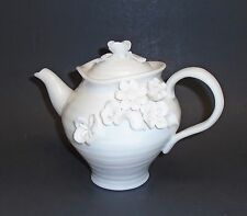NEW GRACIE'S TEAWARE  3-D ROSE FLOWER WHITE PORCELAIN COFFEE,TEAPOT 4.5 CUPS
