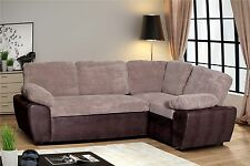 Enzo Cord/Faux Leather Corner Storage Double Sofa Bed - Coffee/Brown (Right)