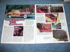 "1947 Chrysler Town And Country Sedan History Info Article ""Private Varnish'"