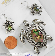 Sea Turtle Necklace Pendant & Earring Set Silver Tone Abolone Shell Crystal NWT