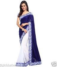 INDIAN ETHNIC BOLLYWOOD BLUE VELVET DESGINER WITH EXCLUSIVE BORDER SAREE SARI