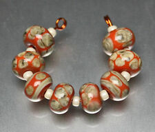 8 Silvered Ivory on Coral Handmade Lampwork Glass Beads