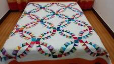King  size machine pieced  Double Wedding Ring complete  quilt  #J-29QK