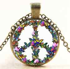 Vintage Butterfly Peace Photo Cabochon Glass Bronze Chain Pendant  Necklace