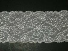 "Vanity Fair white embroidered stretch lace trimming fabric scalloped 2Yx4"" wide"