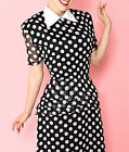 Retro Vintage 1940s Style Polka Dot Chiffon Day Dress - Fully Lined