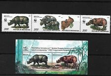 INDONESIA SG2267/70 + MS2671, 1996 RHINOCEROS MNH
