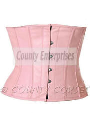 Cincher Shaper Taillen Waspie Steel Full Bone Waistbust Real Pink Leather Corset