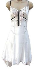 Karen Millen Dress Ivory White Sequin Broderie Embroidered Cutwork Size 8 36
