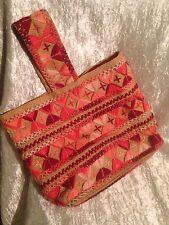 Vintage 1960's Handmade Burlap Crewel Yarn Embroidered Handbag Tote Purse Lined