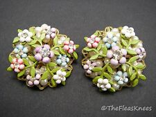 Vintage Miriam Haskell Unsigned Flower Earrings Large 1.25""