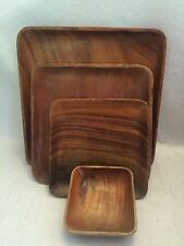 Mid Century Wooden Square Dining Ware - Large Set Of Plates & Platters Unmarked