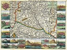 MAP ANTIQUE LA FEUILLE HUNGARY CITY PLAN SURROUND ART POSTER PRINT LV2118