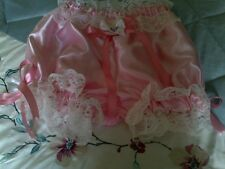 Beautiful Frilly Pink Satin Granny Pants/Bloomers Sissy CD TV TG