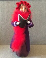 "Byers Caroler 13"" Woman Lady Red Hat Purple Coat Feather Boa Signed Music Blonde"
