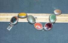 Vintage Sterling Silver Mexican Bracelet Colored Stones Agate Jewelry DM !