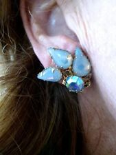 Vintage 1950's Gold Tone Faux Opal Julianna Pear Shape Rhinestone Earrings