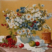"""BEAUTIFUL 46CM 18"""" VASE A FLEURS BELGIAN TAPESTRY CUSHION COVER WITH ZIP A4053"""