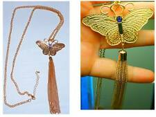 New Necklace - Gold tone - with Butterfly pendent and dangling chains below
