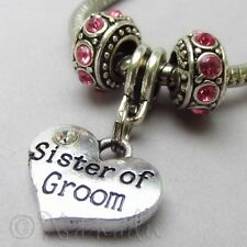 Sister Of The Groom Pendant And Birthstone European Beads For Charm Bracelets