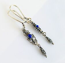 ANTIQUE GREEK FILIGREE SAPPHIRE CZ EARRING STERLING SILVER 925  CODE 11638