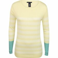 NEW WOMENS OXFORD BRAND THOMPSON CREW NECK GOLF SWEATER SIZE MEDIUM YELLOW WHITE