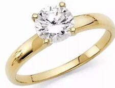 1 Carat Round Solid 14k YELLOW Gold manmade Diamond Engage Ring Size 4 5 6 7 8 9