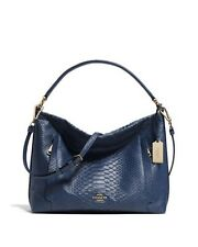COACH DENIM BLUE EMBOSSED PYTHON LEATHER SCOUT HOBO SHOULDER CROSSBODY BAG NWT