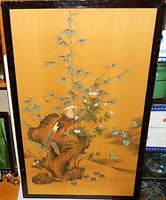 LARGE CHINESE WATERCOLOR SILK PANEL FLORAL BIRD PAINTING SIGNED #2