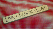 "Rustic Primitive Country Engraved Wood sign ""LIVE LAUGH LOVE"" home decor"