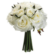 WHITE Roses ~ Bridal Hand Tied Bouquet Silk Wedding Flowers Bridesmaid Toss NEW
