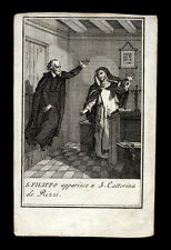 santino incisione 1700 S.FILIPPO NERI APPARE A S.CATERINA DE RICCI