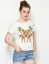 WILDFOX COUTURE ANIMAL KINGDOM LION GIRAFFE CAMDEN SWEAT TEE TOP M 12 8 40!