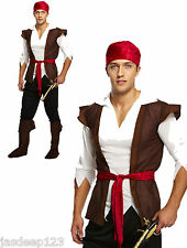 Para Hombre Adulto Pirata Fancy Dress Costume Traje De Caribe Jack Sparrow Brown Hombre