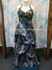 'Pamela Ann' Custom CAMO Prom Wedding Bridesmaids Dress Halter Pick Up Skirt