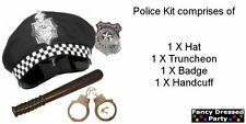 Fancy Dress Police Kit (Hat, Truncheon, Badge & Handcuffs) X 1