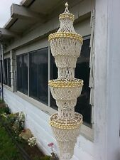 Vintage Sea Shell Hanging Chandelier beach decor garden pool home 4 FEET LONG