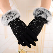A 217 Winter Womens Ladies Fur Touch Screen Pearl Outdoor Sport Snow Warm Gloves