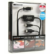 New Roland UM-ONE mk2 USB MIDI Interface Compatible with Ipad Mac and Windows