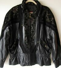 Lucky Leather Jacket XL Womens Black Paisley Detail Flare on Bottom Extra Large