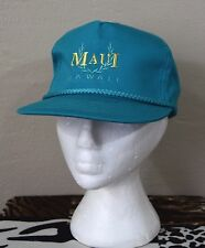 Vintage Maui Hawaii Trucker Style Hat CAp Snap Back Teal Retro Cord