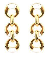 Zest Link Chain Drop Earrings for Pierced Ears White and Golden