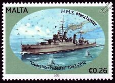 HMS MANCHESTER (15) Town Class Light Cruiser Warship WWII Malta Convoys Stamp