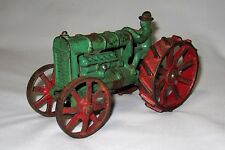 Original Vintage 1930's Arcade Fordson Green and Red Cast Iron Toy Farm Tractor