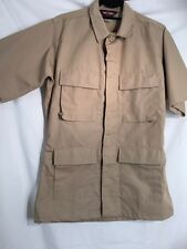 TruSpec 4 Pocket SHORT Sleeve Tactical Uniform Men's Shirt SMALL KHAKI RIP STOP
