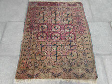 Shabby Chic Antique Hand Made Turkoman Bokhara Wool Red Carprt Rug 142x107cm