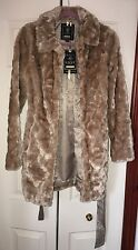 Womens Lipsy Tan Faux Fur Coat Size 8 New With Tags