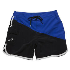 New TYR Bulldog Men's Swim Trunks / Boardshorts - Black / Royal Blue - LARGE 34