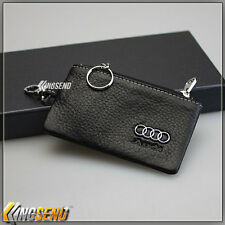 new AUDI Genuine Cow Leather Car Key Bag Remote Cover Fob Holder Case Ring Chain